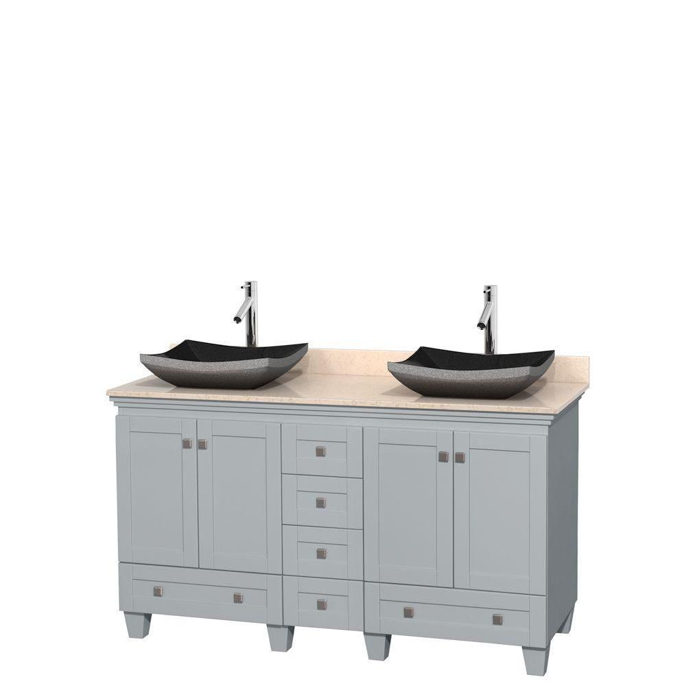 Acclaim 60-inch W Double Vanity in Oyster Grey with Marble Top and Granite Sinks