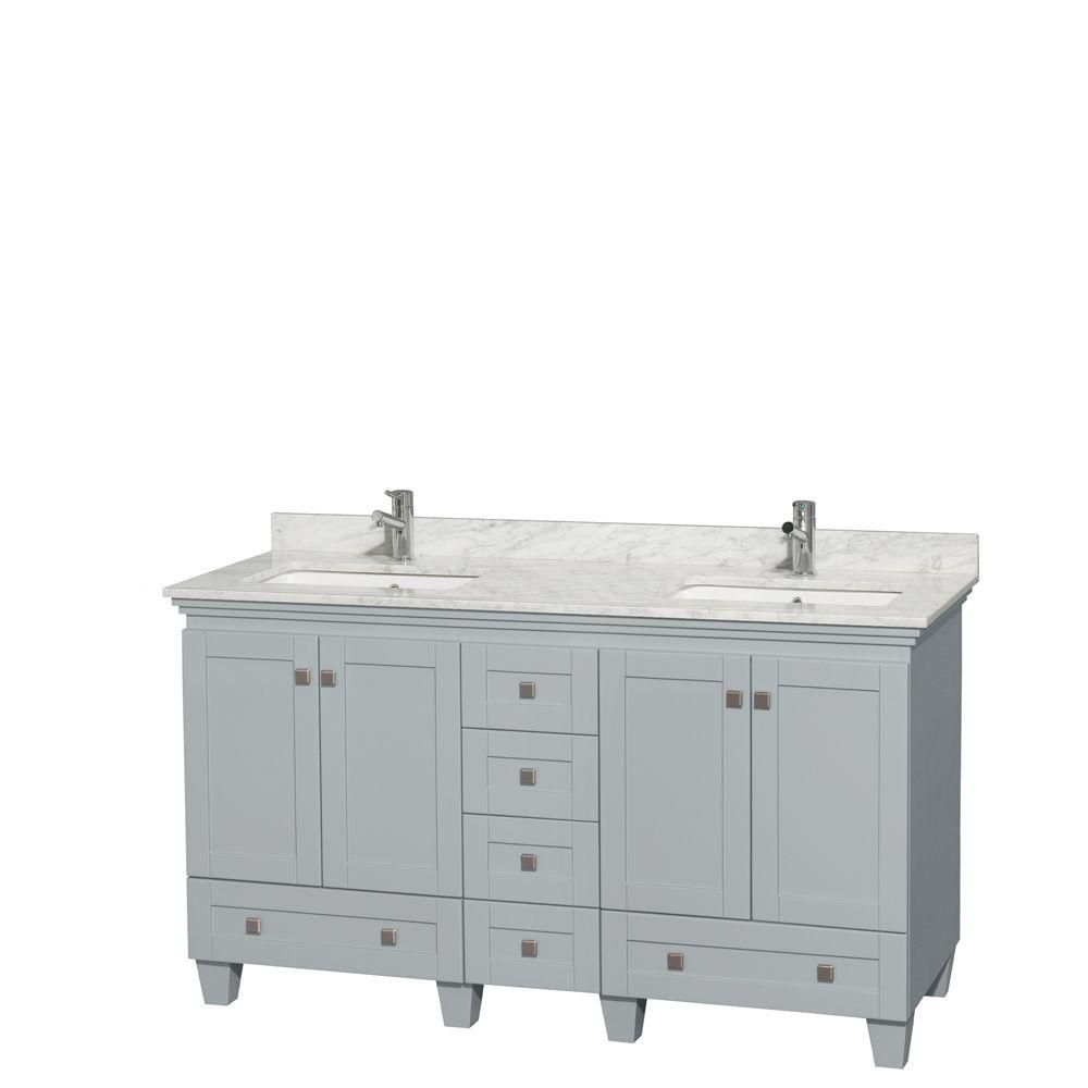 Acclaim 60-inch W Double Vanity in Oyster Grey with Carrara Top and Square Sinks
