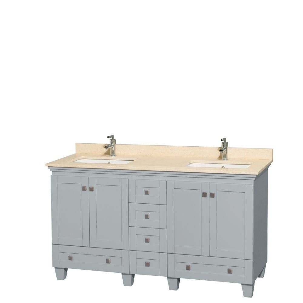 Acclaim 60-inch W Double Vanity in Oyster Grey with Marble Top and Square Sinks