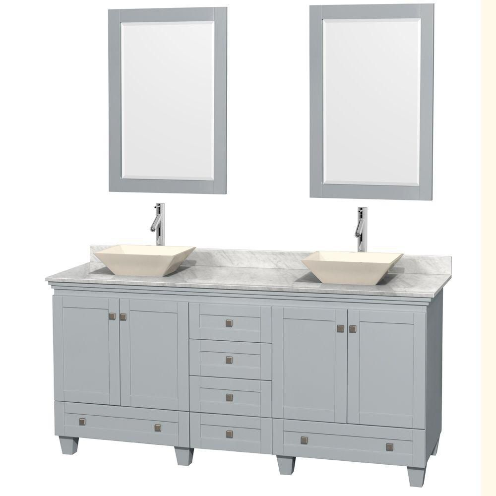 Acclaim 72-inch W Double Vanity in Oyster Grey with Carrara Top, Porcelain Sinks and Mirrors