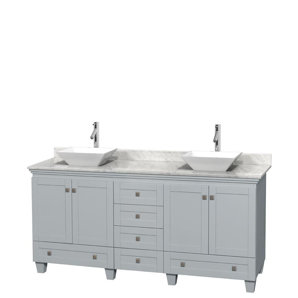 Acclaim 72-inch W Double Vanity in Oyster Grey with Carrara Top and Porcelain Sinks