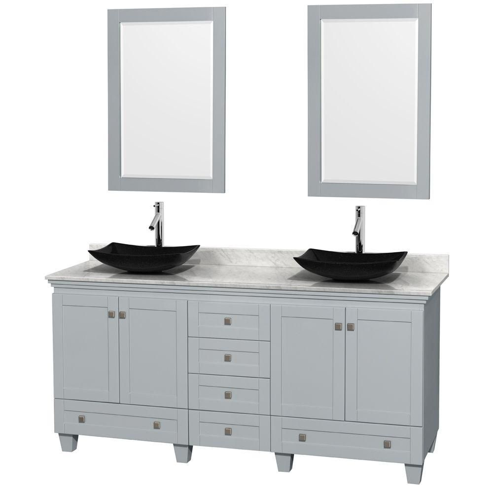 Acclaim 72-inch W Double Vanity in Oyster Grey with Carrara Top, Granite Sinks and Mirrors