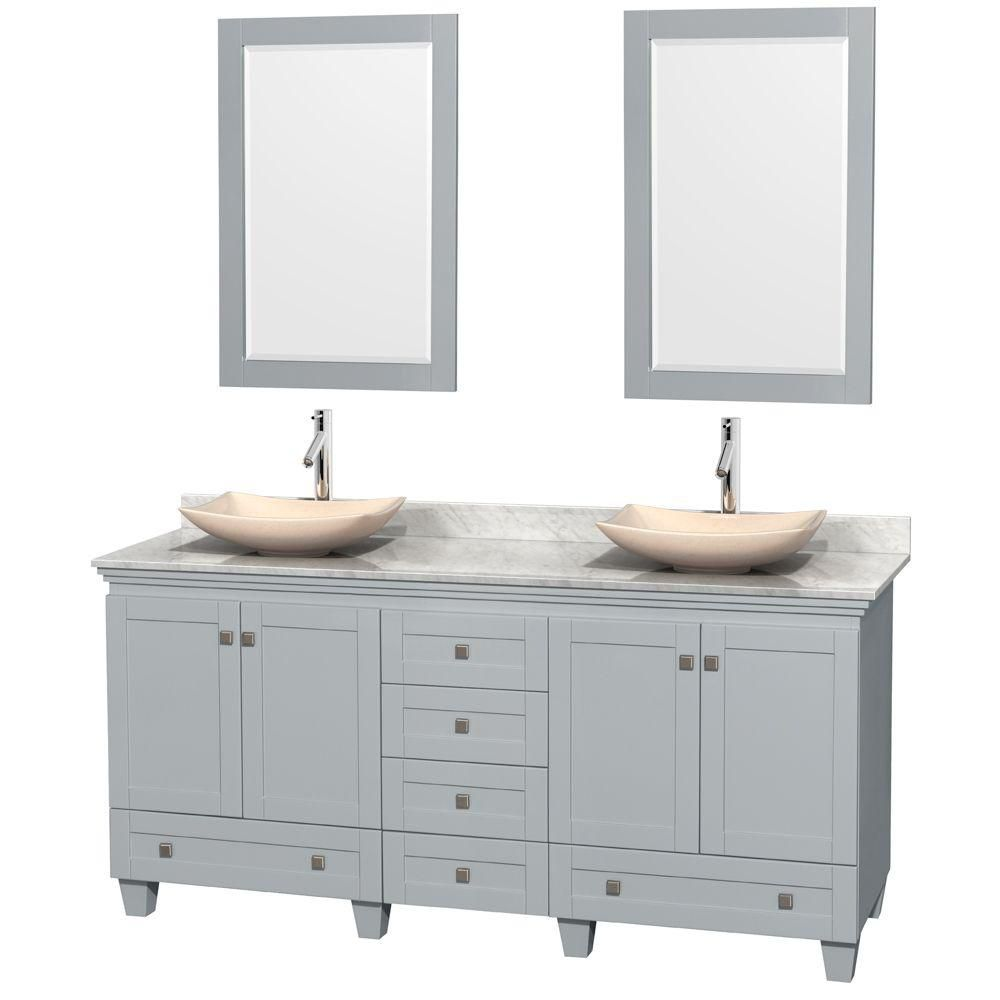 Acclaim 72-inch W Double Vanity in Oyster Grey with Carrara Top, Marble Sinks and Mirrors