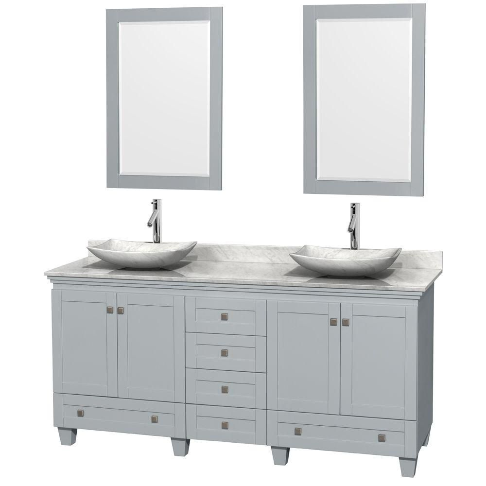Acclaim 72-inch W Double Vanity in Oyster Grey with Carrara Top, Carrara Sinks and Mirrors
