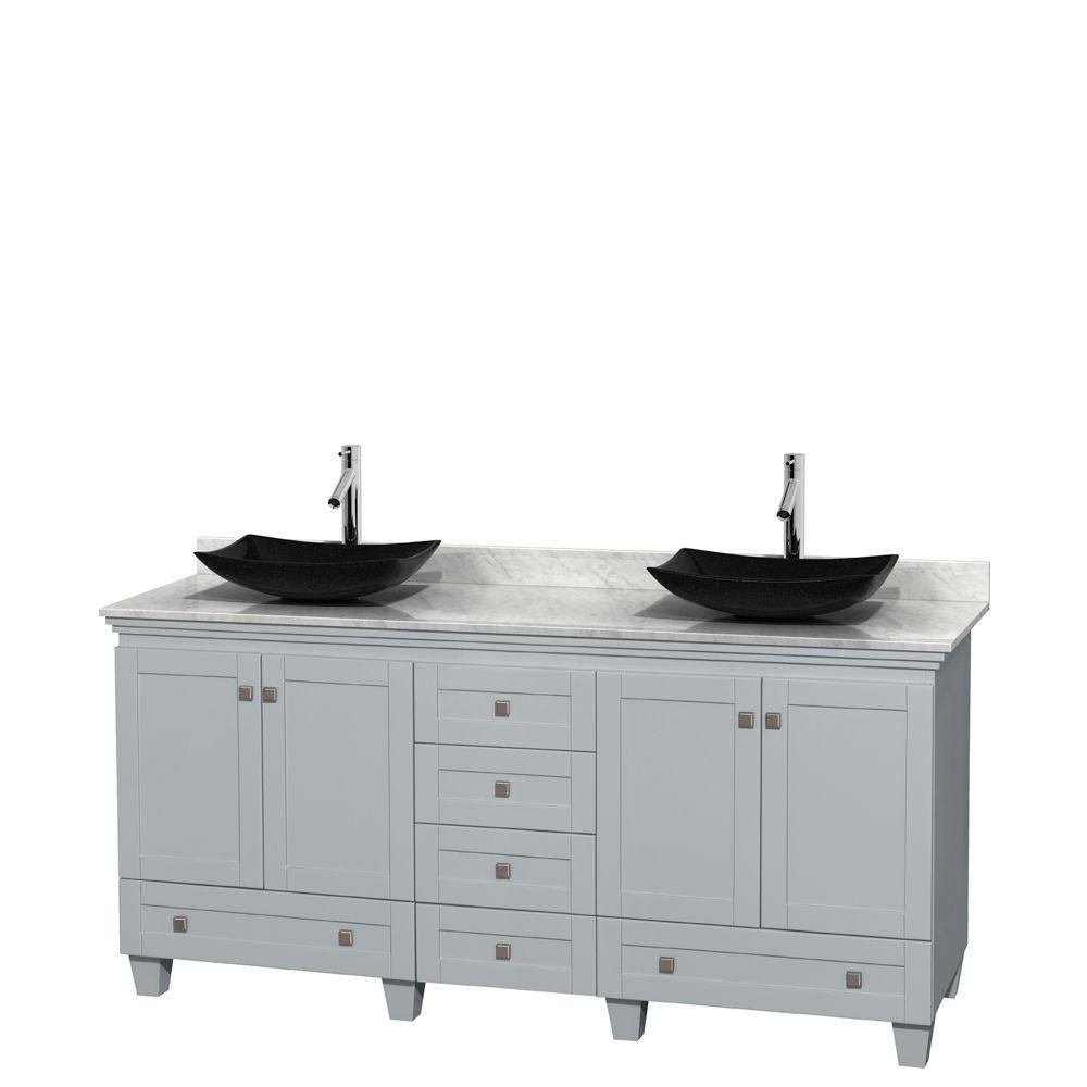 Acclaim 72-inch W Double Vanity in Oyster Grey with Carrara Top and Granite Sinks