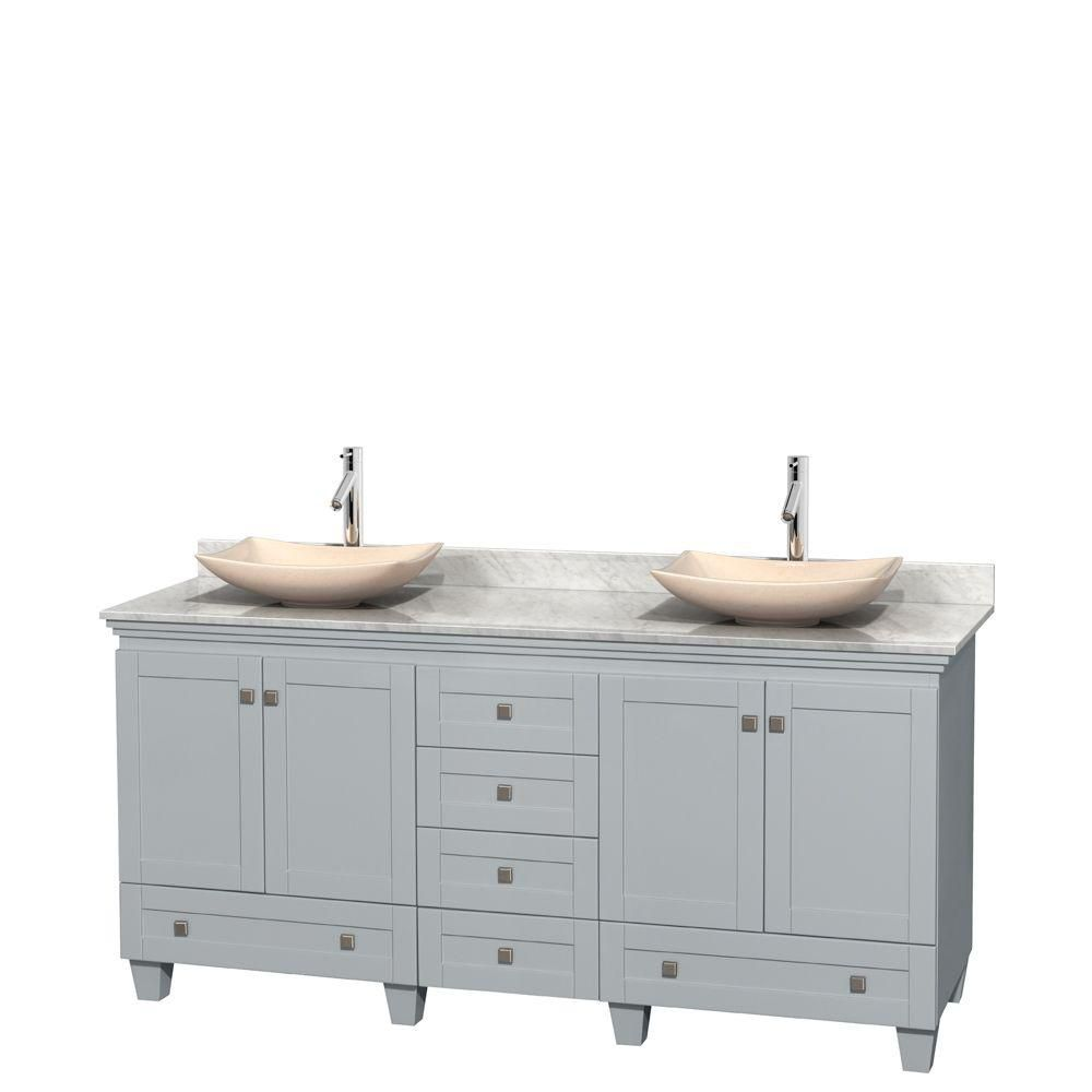 Acclaim 72-inch W Double Vanity in Oyster Grey with Carrara Top and Marble Sinks