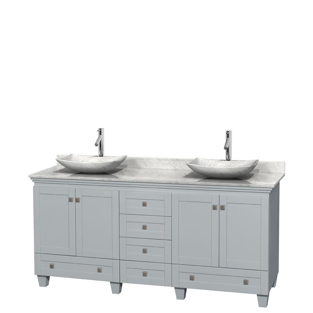 Acclaim 72-inch W Double Vanity in Oyster Grey with Carrara Top and Carrara Sinks