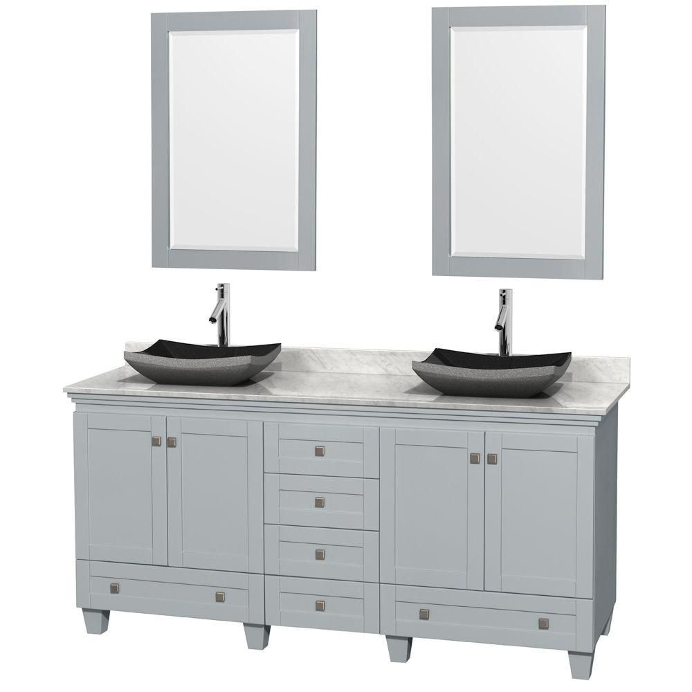 """Meuble s. bains dbl Acclaim 72"""" gris huître, comptoir Carrare blc, éviers granit noir, miroirs 24..."""