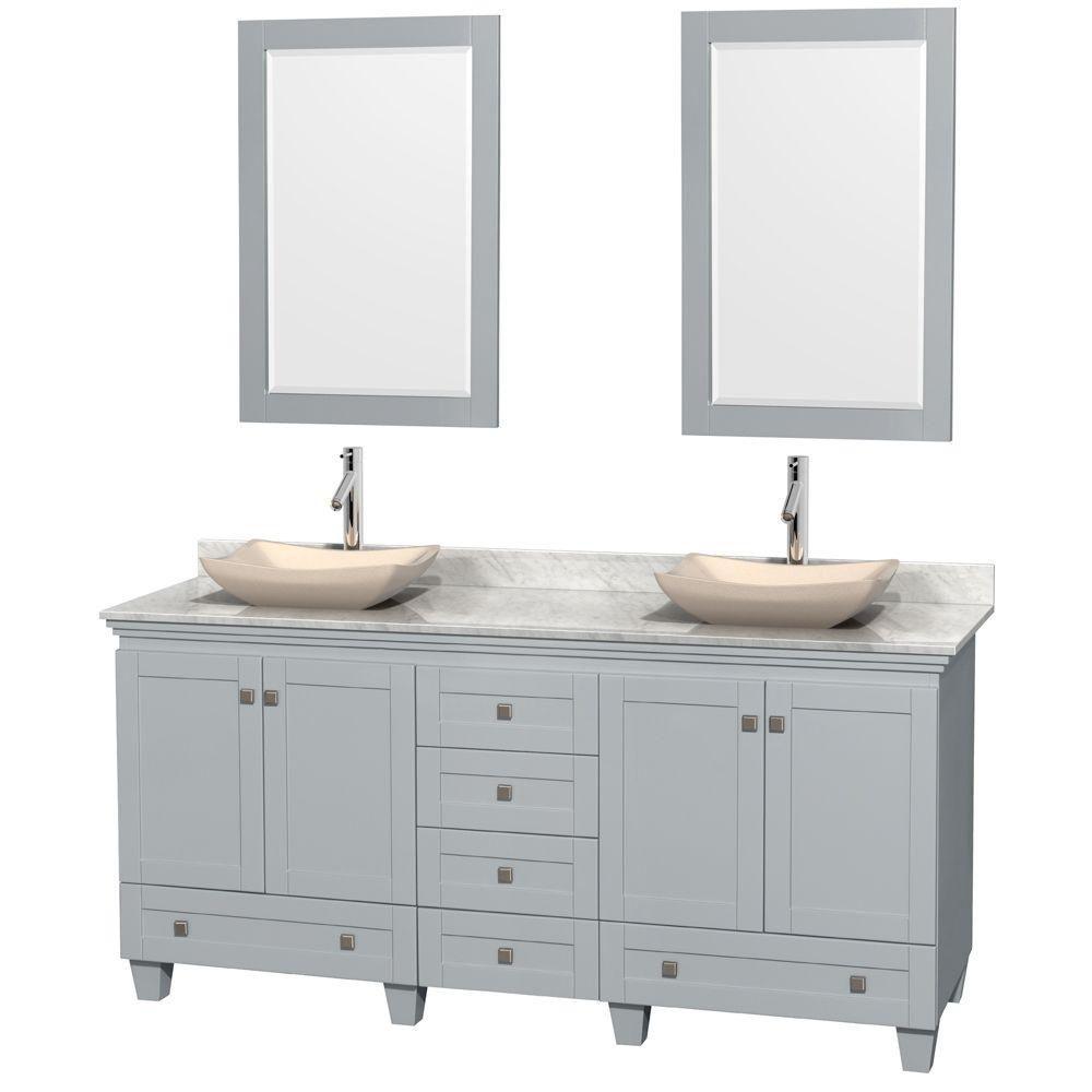 """Meuble s. bains dbl Acclaim 72"""" gris huître, comptoir Carrare blc, éviers marbre ivoire, miroirs ..."""