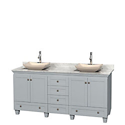 Wyndham Collection Acclaim 72-inch W 6-Drawer 4-Door Freestanding Vanity in Grey With Marble Top in White, 2 Basins