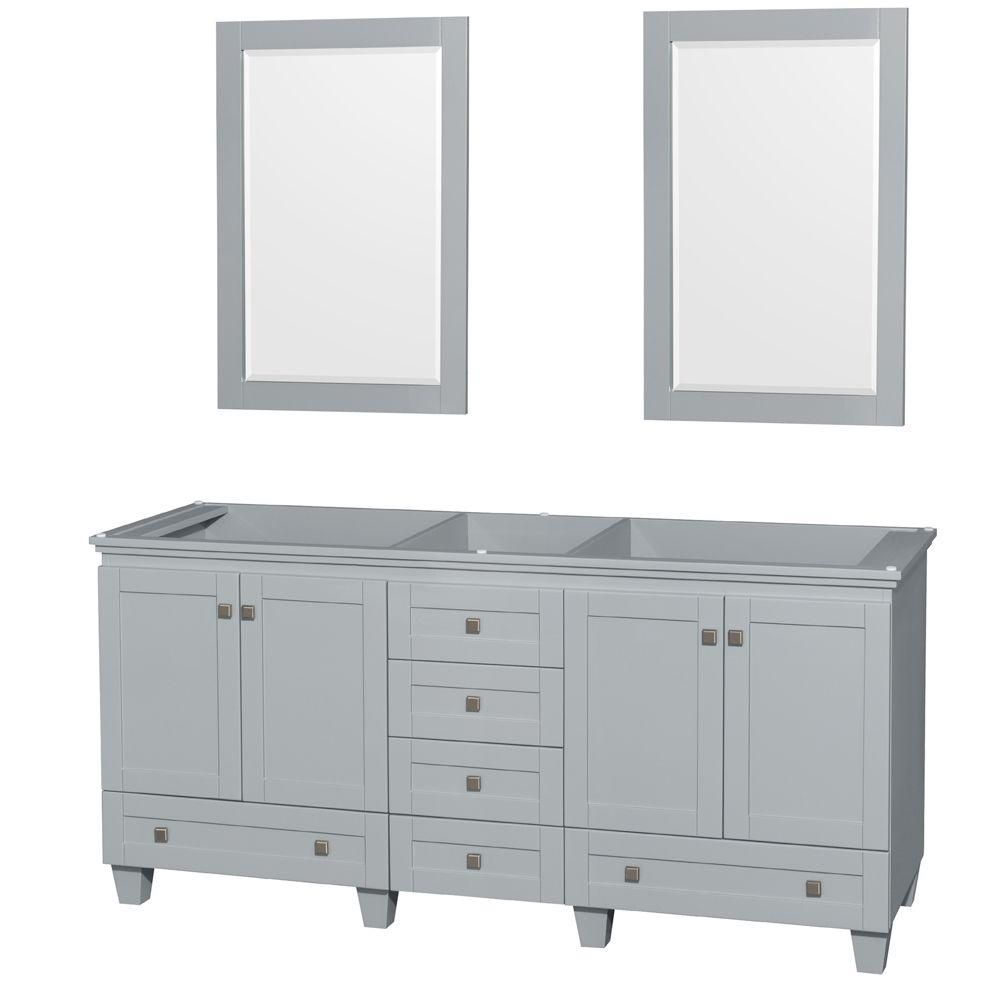 Acclaim 72-Inch  Double Vanity Cabinet with Mirrors in Oyster Grey