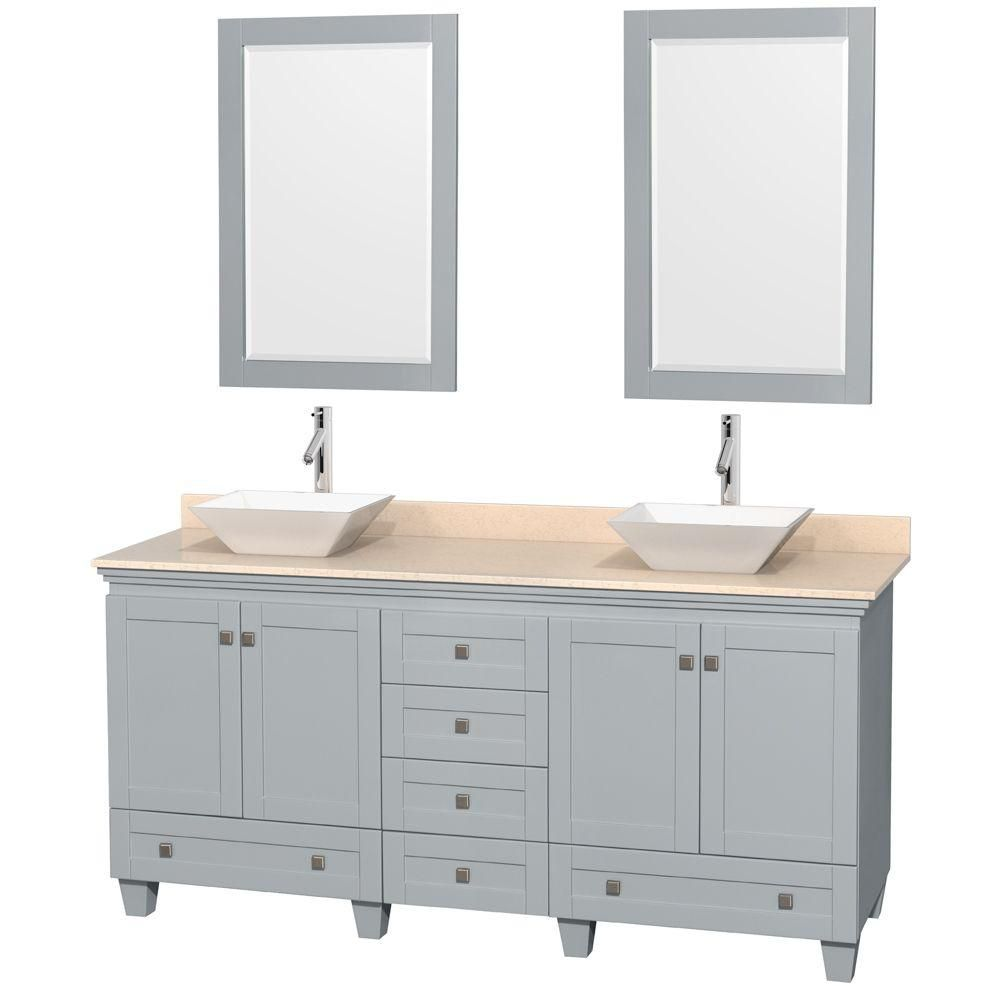 Acclaim 72-inch W Double Vanity in Oyster Grey with Marble Top, Porcelain Sinks and Mirrors