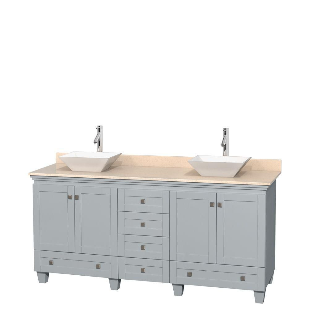 Acclaim 72-inch W Double Vanity in Oyster Grey with Marble Top and Porcelain Sinks