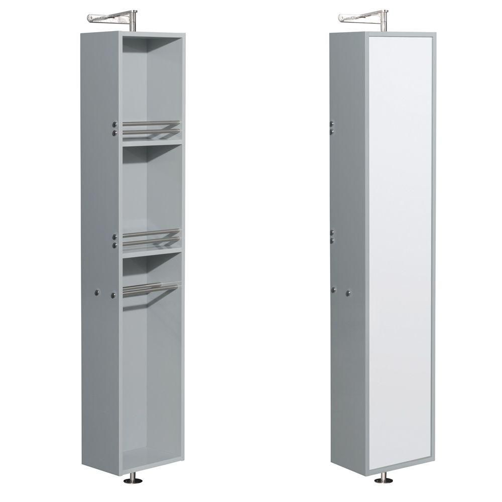 Amare Linen Tower & 360 Degree Rotating Floor Cabinet with Full-Length Mrr in Dove Gray
