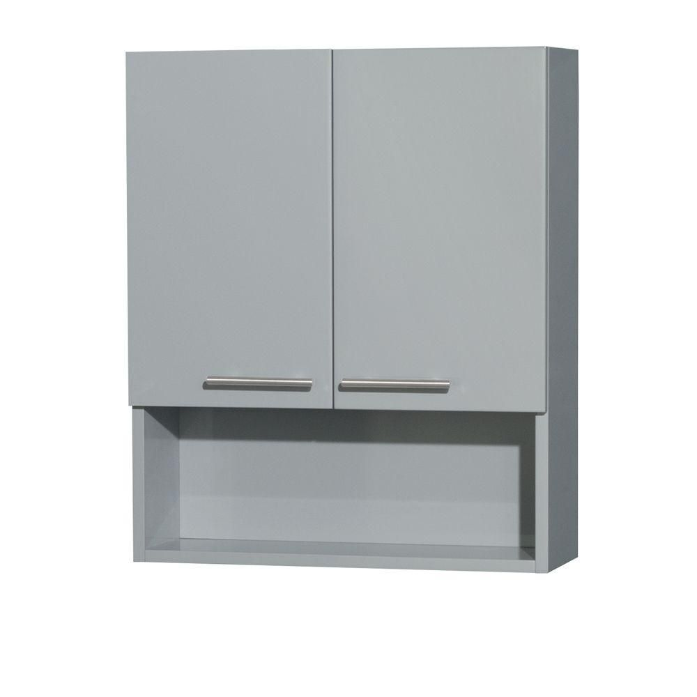 Amare Bathroom Wall-Mounted Storage Cabinet in Dove Gray (Two-Door)