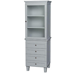 Acclaim Bathroom Linen Tower in Oyster Gray with Shelved Cabinet Storage and 4 Drawers