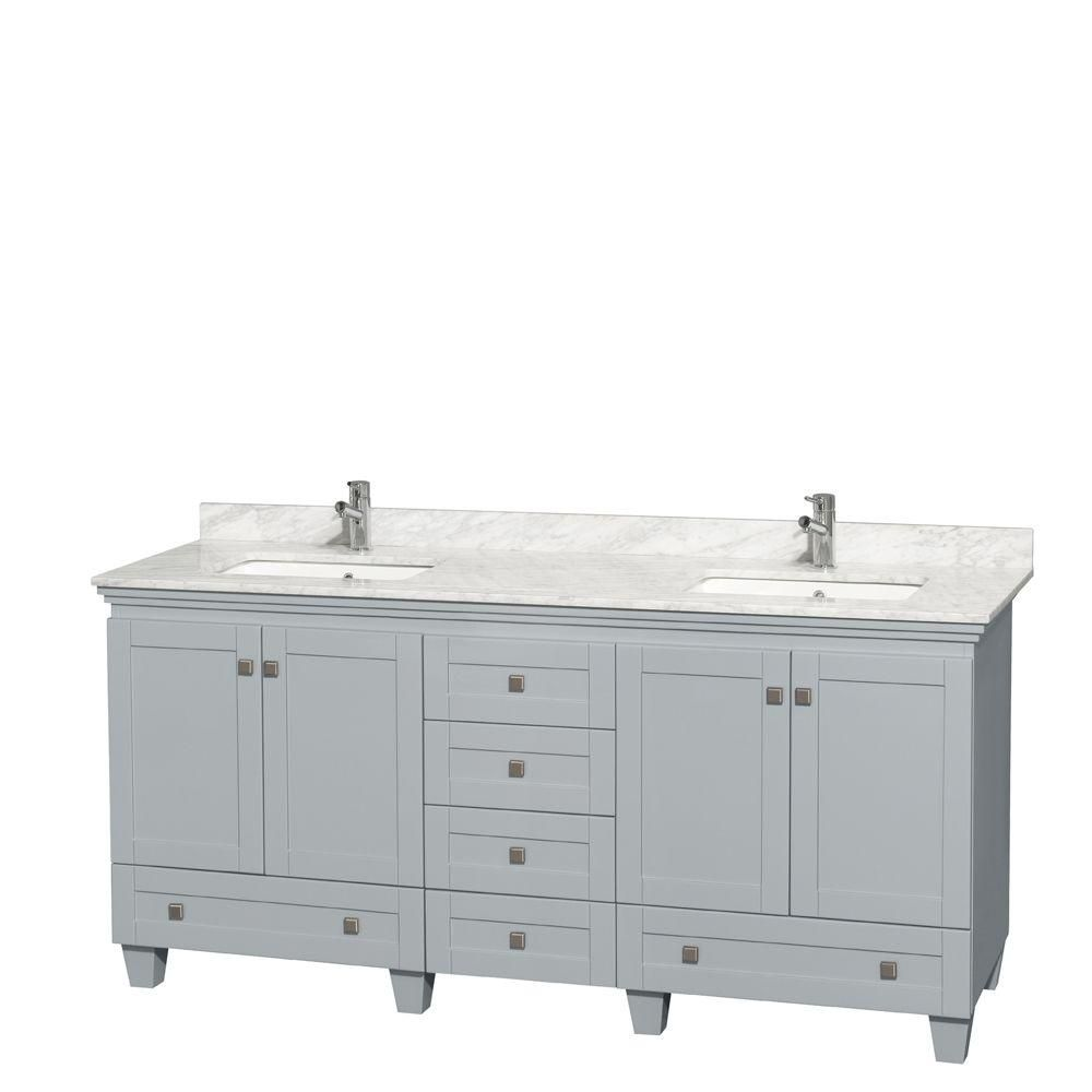 Acclaim 72-inch W Double Vanity in Oyster Grey with Carrara Top and Square Sinks