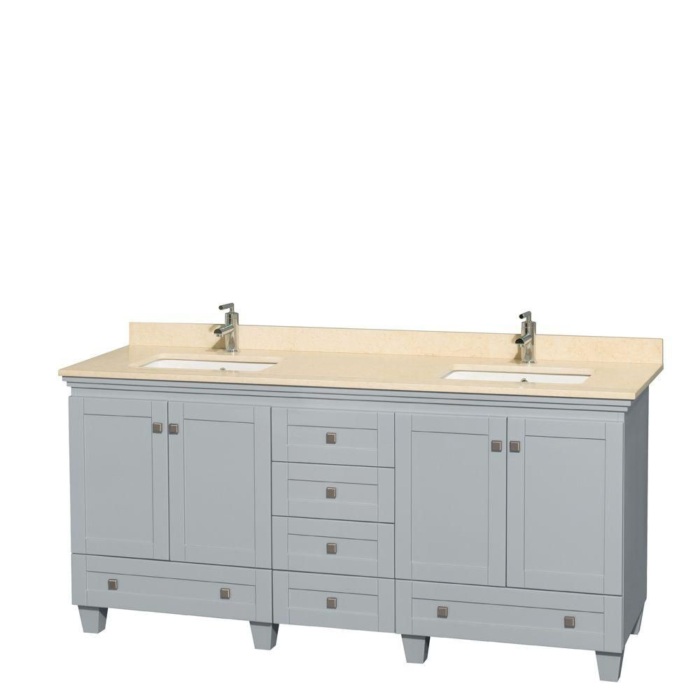 Acclaim 72-inch W Double Vanity in Oyster Grey with Marble Top and Square Sinks