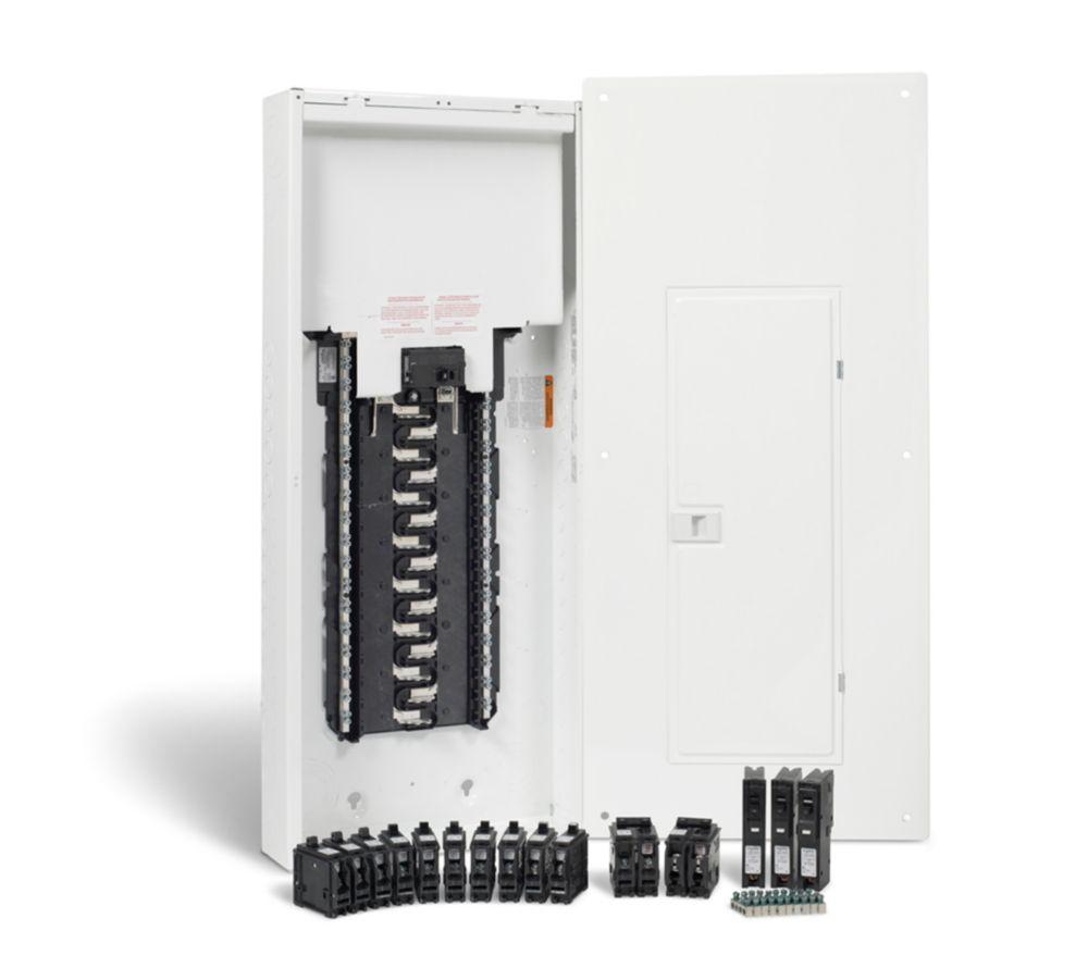 100A, 30 espaces - ensemble dun panneau anti-arcs HomeLine avec neutre enfichable et disjoncteurs