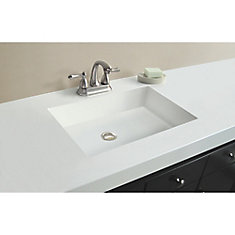 61-Inch W x 22-Inch D Marble Vanity Top in White with Rectangle Bowl