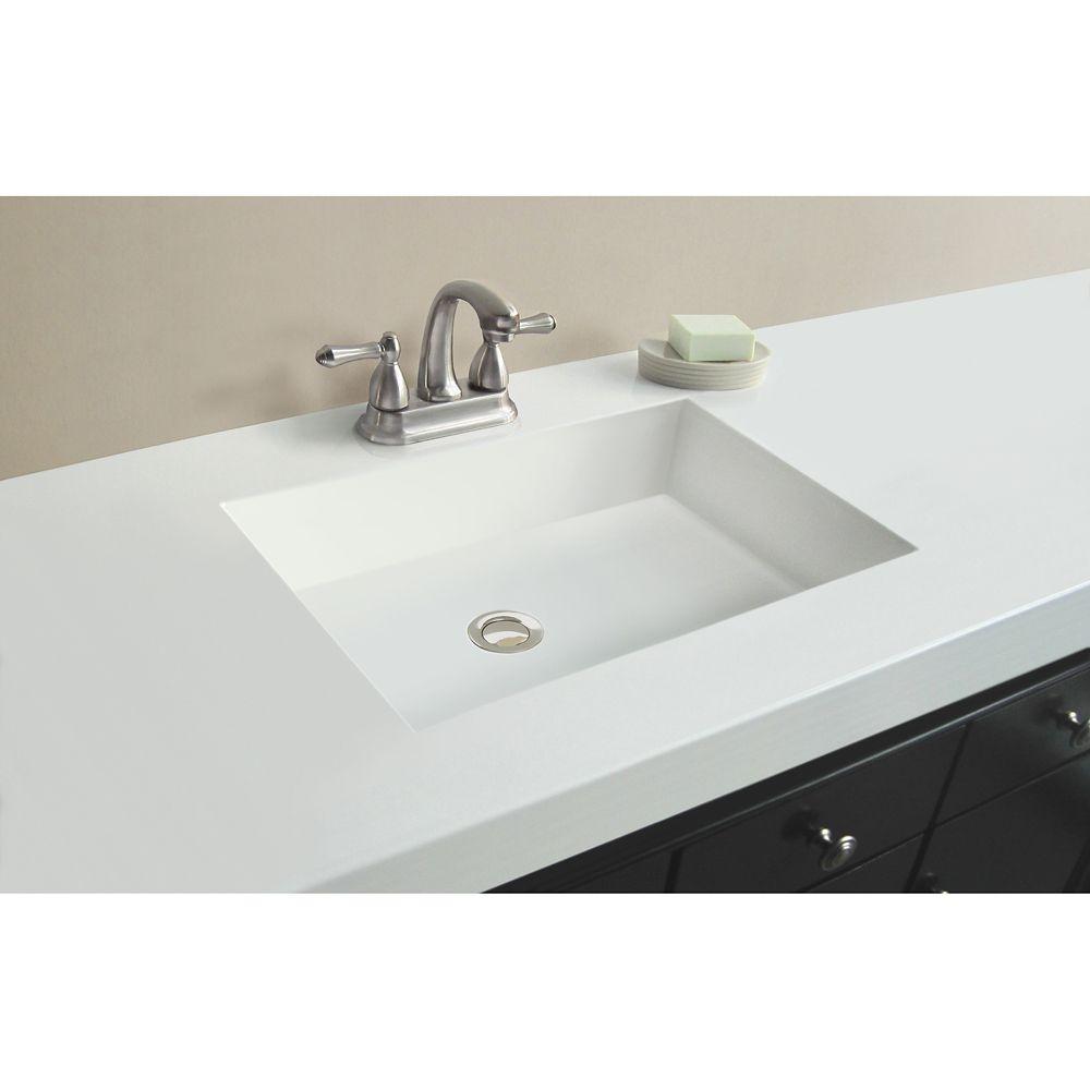 Dessus blanc de 1,54 m [61 po] larg. x 55,88 cm [22 po] prof. avec lavabo rectangulaire
