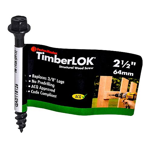 FastenMaster 2-1/2-inch Hex Washer Head TimberLOK(R) Structural Wood Screw in Black - 1pc