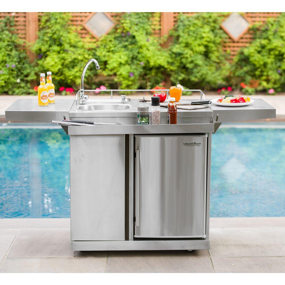 Leisure Season Outdoor Kitchen Cart & Beverage Center With ... on Outdoor Patio Sink id=66650