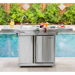 Leisure Season Outdoor Kitchen Cart & Beverage Center With Fridge & Sink