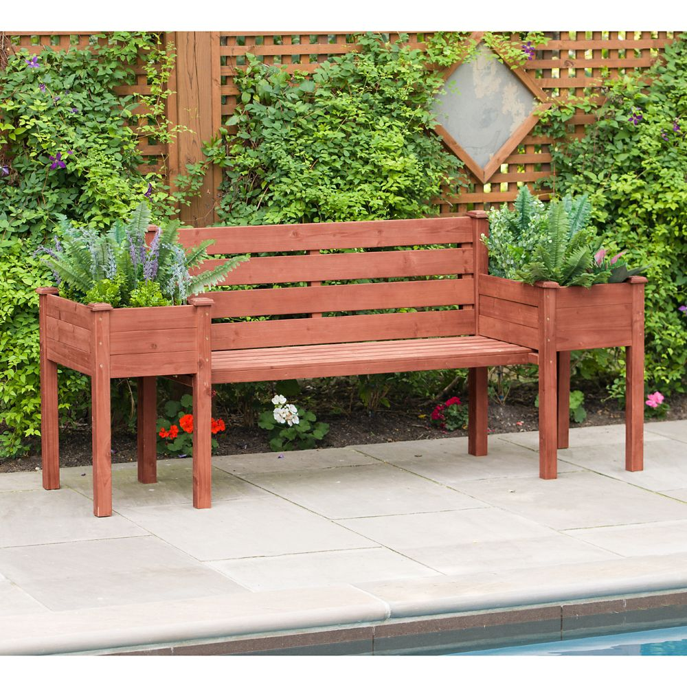 79-inch W x 20-inch D x 38-inch H Wood Planter Bench