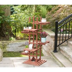 Leisure Season 6-Tier Wooden Pedestal Plant Stand