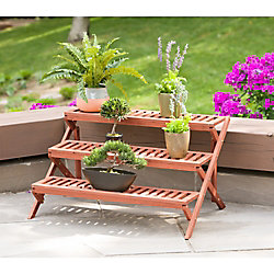 Leisure Season 3-Tier Wooden Step Plant Stand