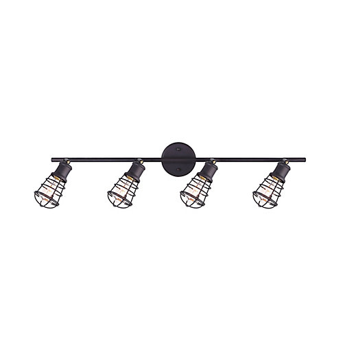 Loft 4-Light ORB Track Light With Metal Cage