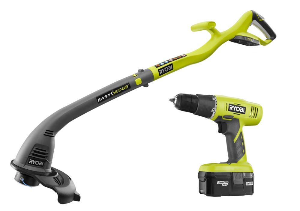 ryobi 18 volt one lithium ion electric string trimmer and drill driver combo kit 2 tool with. Black Bedroom Furniture Sets. Home Design Ideas