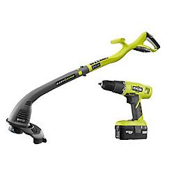 RYOBI 18V ONE+ Lithium-Ion Electric String Trimmer and Drill Driver Combo Kit (2-Tool) with Battery