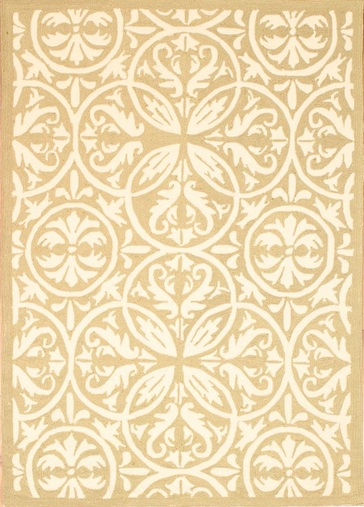 Beige Fret Work Indoor/Outdoor Area Rug 5 Feet x 7 Feet