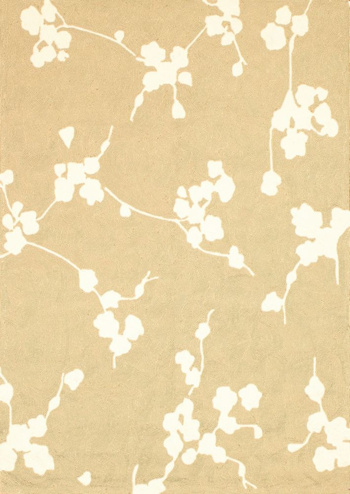 Beige Cherry Blossom Indoor/Outdoor Area Rug 5 Feet x 7 Feet