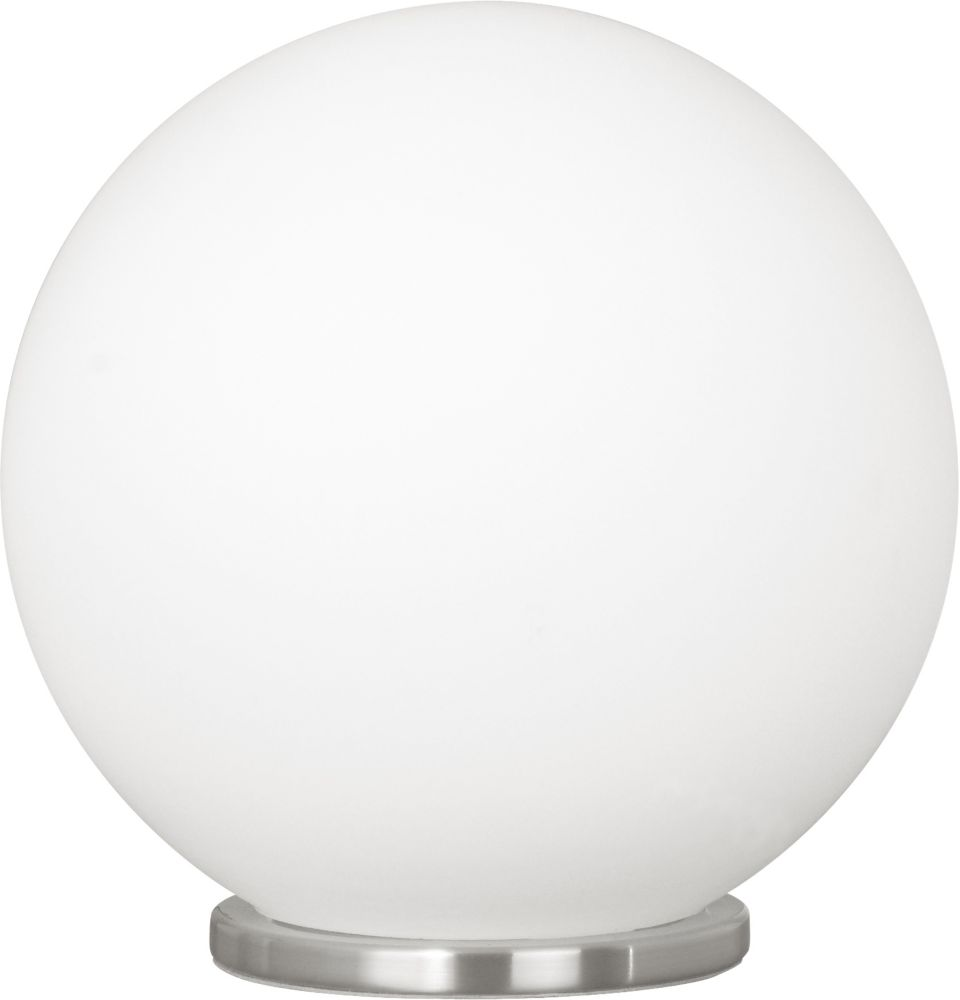 Rondo Table Lamp 1L,  Silver Finish with White Round Glass