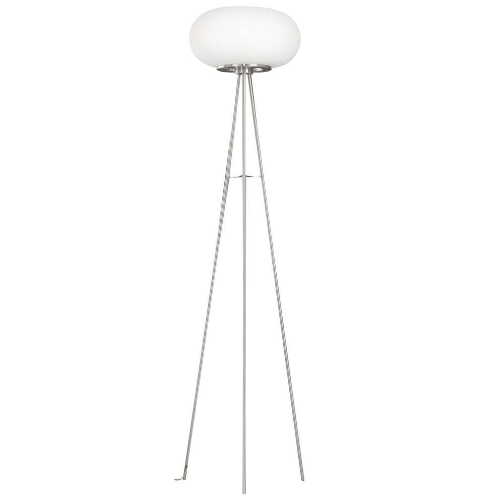 Optica Floor Lamp 1L, Matte Nickel Finish with White Glass