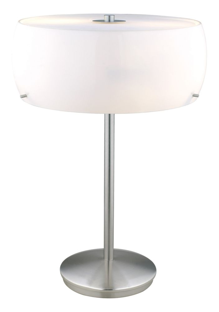Camaro 1 Table Lamp 2L, Matte Nickel Finish with Glossy White Glass