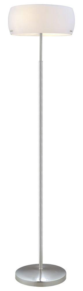 Camaro 1 Floor Lamp 2L, Matte Nickel Finish with Glossy White Glass