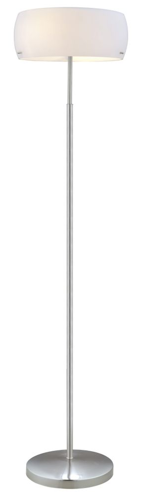 Camaro 1 Floor Lamp 2L, Matte Nickel Finish with Glossy White Glass