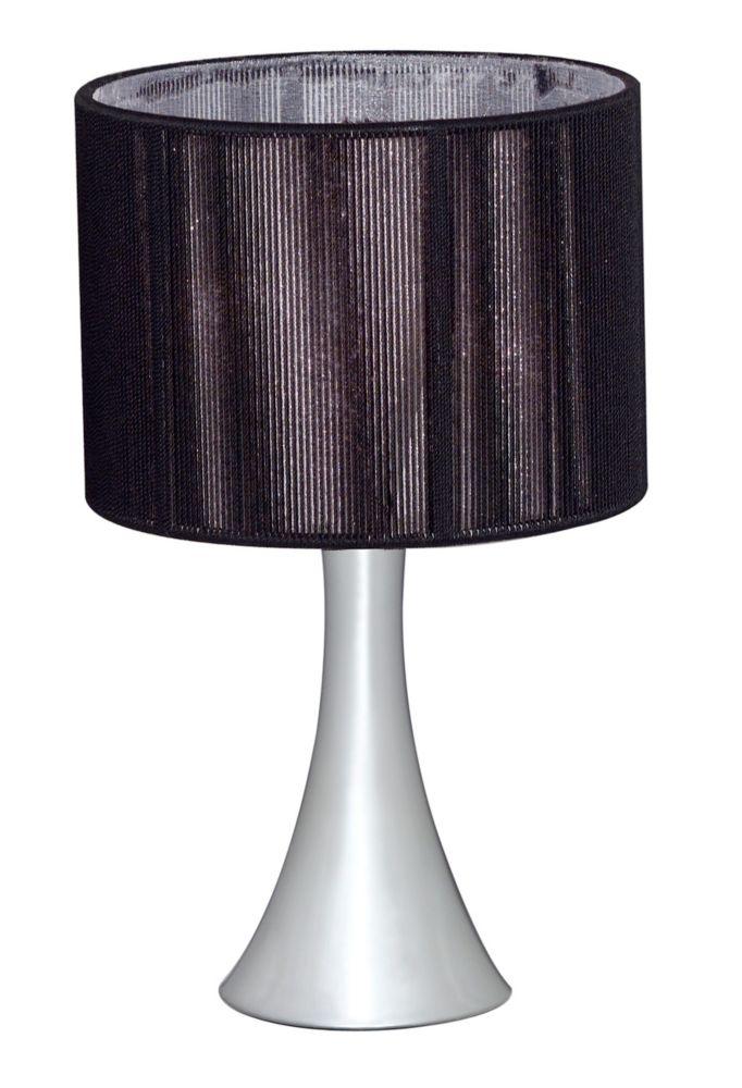 Fabienne Lampe de Table 1L, Fini Chrome avec Abat-Jour en Materiel Noir et Feuille Scintillante