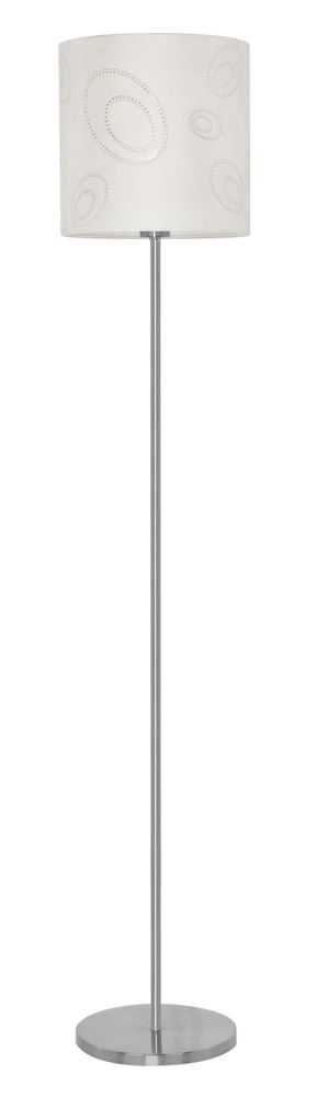 Indo Floor Lamp 1L, Matte Nickel Finish and Punctured Design Beige Fabric Shade with Inner Crysta...