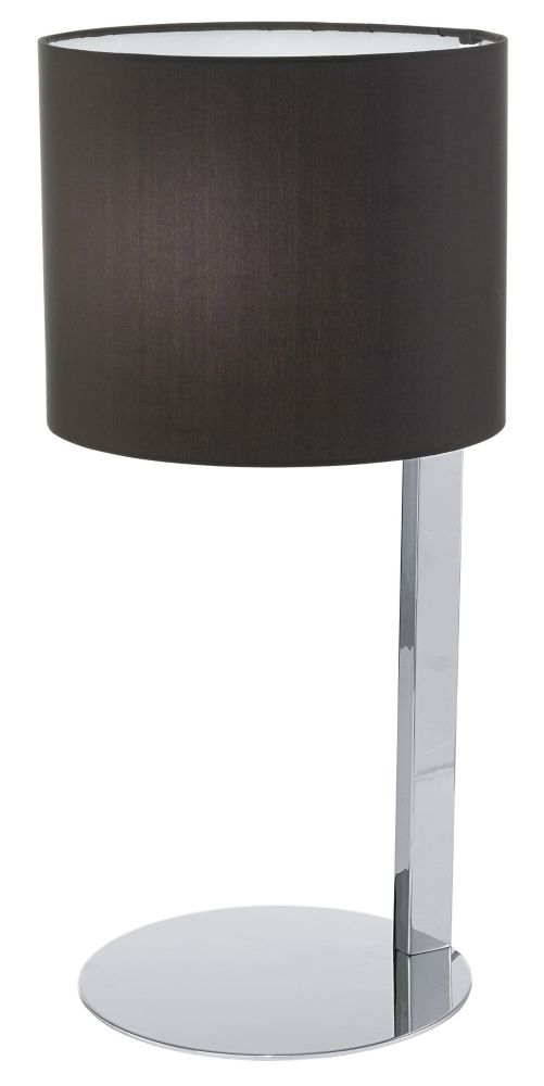 Chicco Table Lamp 1L, Chrome Finish with Black Fabric Shade