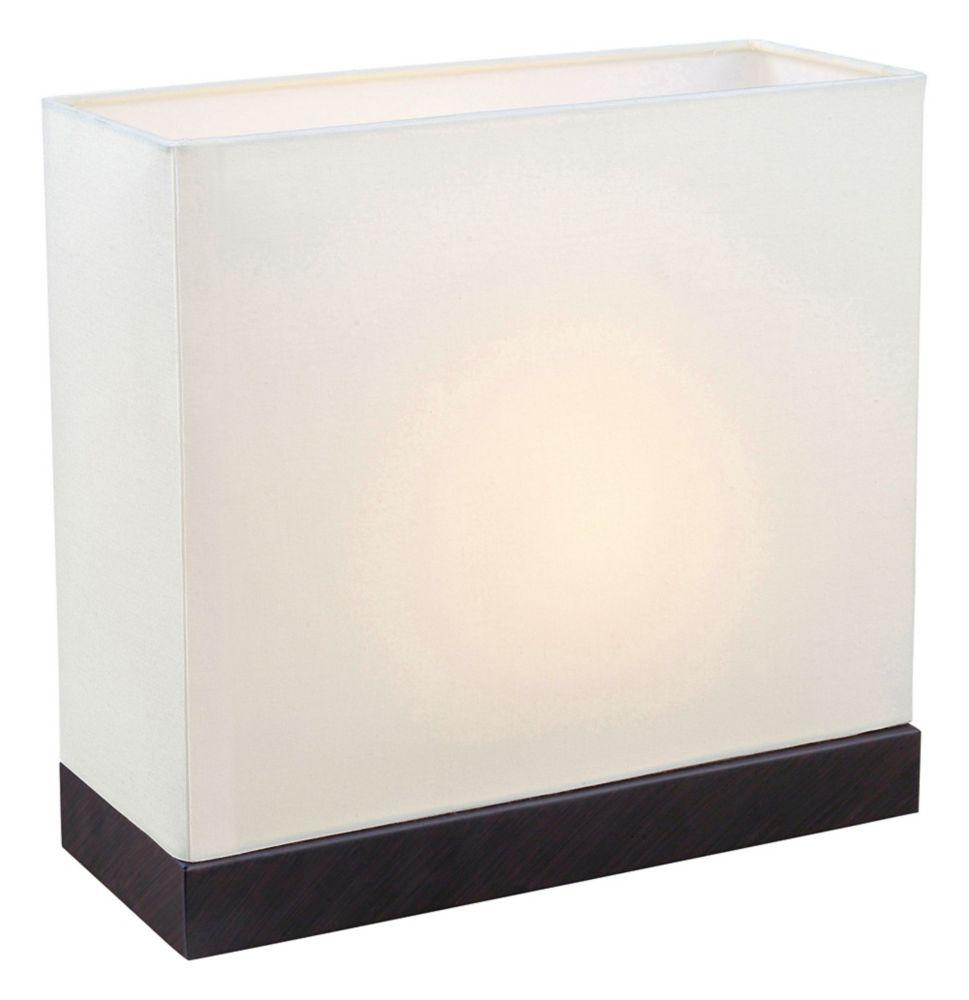 Fano Lampe de Table 1L, Fini Brun Antique avec Abat-Jour en Tissu Blanc