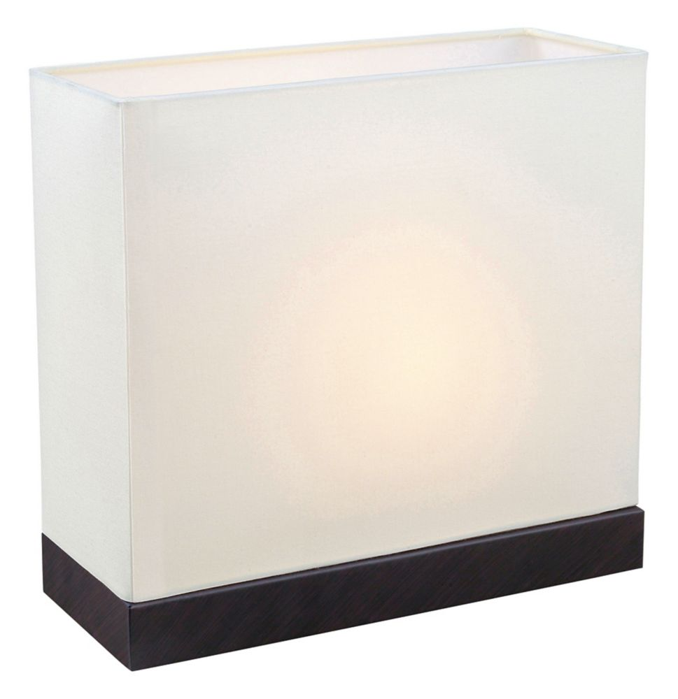Fano Table Lamp 1L, Antique Brown Finish with White Fabric Shade