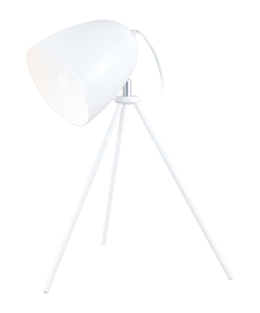 Don Diego Lampe de Table, Fini Blanc Lustré avec Abat-Jour Blanc en Metal