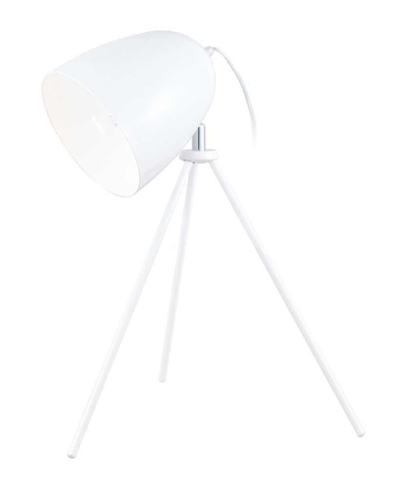 Don Diego Table Lamp 1L, White Glossy Finish with White Metal Shade