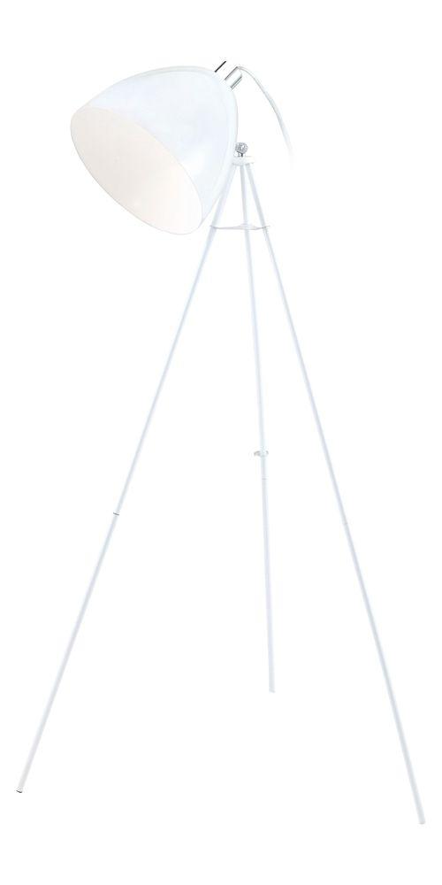 Don Diego Lampe de Plancher, Fini Blanc Lustré avec Abat-Jour Blanc en Metal