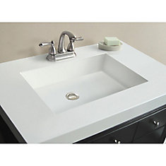 37-Inch W x 22-Inch D Marble Vanity Top in White with Rectangle Bowl